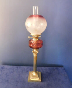Victorian Cranberry Oil Lamp