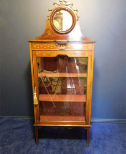 Edwardian Inlaid Mahogany Hand Painted Display Cabinet