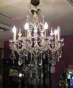 Eight Branch Cut Glass Chandelier