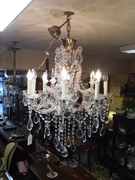 Eight branch cut glass chandelier left bank antiques eight branch cut glass chandelier mozeypictures Images